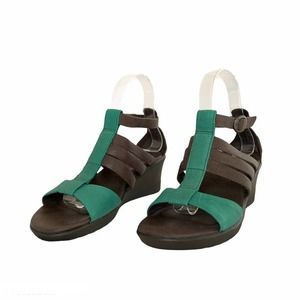 Keen Victoria Leather Colorblock Wedge Sandals 7